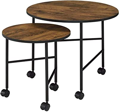 Benjara 2 Piece Round Nesting End Table with Casters, Brown and Black