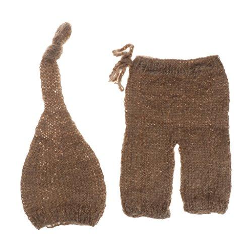 VIccoo Mohair Hat, Mohair geboren fotografie Props Kostuums Hoed+Broek Set Baby foto Accessoires - Bruin
