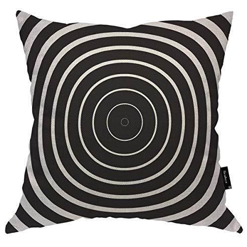 Seemuch Funda de almohada abstracta redonda geométrica lineal concéntrica lineal cálida funda de cojín de algodón y lino para el hogar, oficina, sofá, silla, dormitorio, 50 x 50 cm