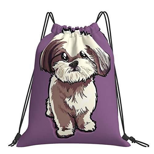 Mochila con cordón Fitness al aire libre portátil ajustable impermeable mochila deportiva Alicia (Shih Tzu)