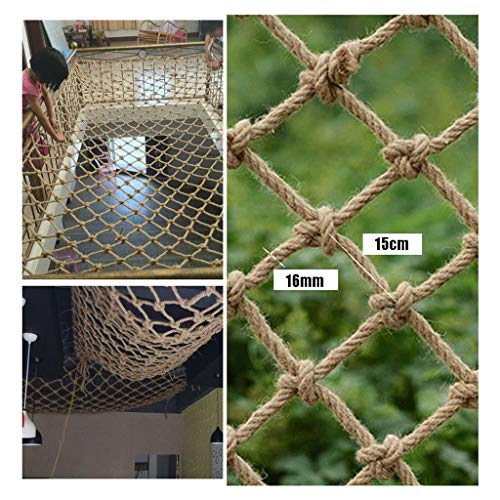 Climbing Frame Hemp Rope Net Safety Netting for Railings,Net Decoration Nautical Fish Net,Natural Jute Hand-knitted,for Patio Stairs,16mm/15cm,Multiple Sizes (Size : 2x4m)
