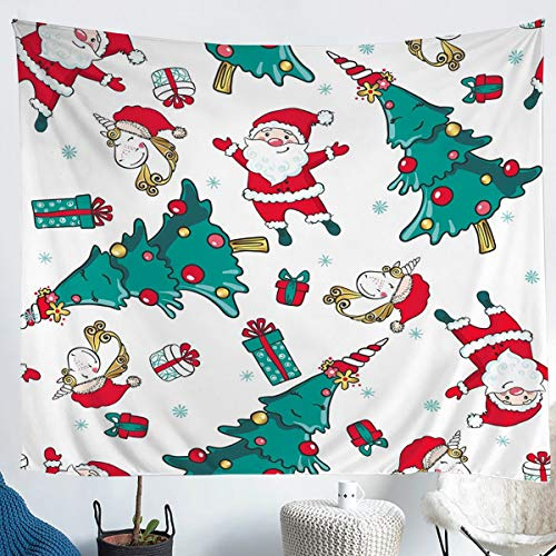 Erosebridal Christmas Wall Hangings Small 51x59 Santa Claus Wall Blanket Cartoon Horse Wall Tapestry Pine Christmas Ornaments Tapestries for Kids Boys Girls Child's Dorm Room Decorative, White