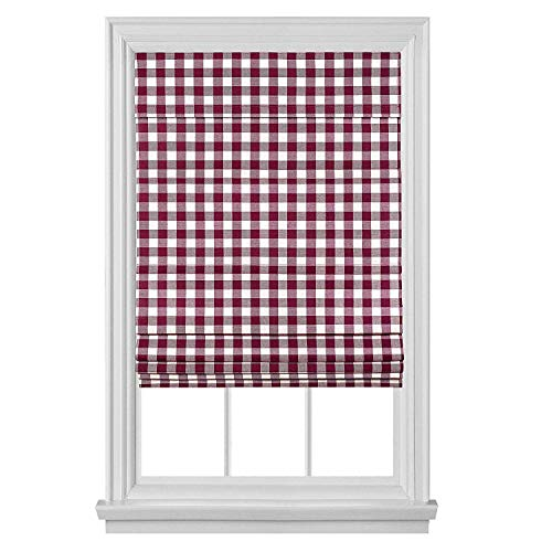 """PowerSellerUSA Cordless Buffalo Plaid Curtains, Roman Shades for Windows, Room Darkening Fabric, Classic Country Plaid Gingham Checkered Design and The Ultimate Farmhouse Decor, Maroon, 36"""" x 64"""""""