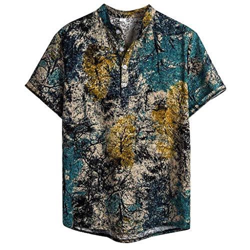 Camisetas Hombre Manga Corta Hanyixue 2020 Sólido Cuello Mao Camisa Lino Hombre Casual Moda Blusa Slim Fit Tops Hombre Tallas Grandes XXL