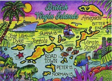 British Virgin Islands Tortola Map Caribbean Fridge Collector's Souvenir Magnet 2.5' X 3.5'