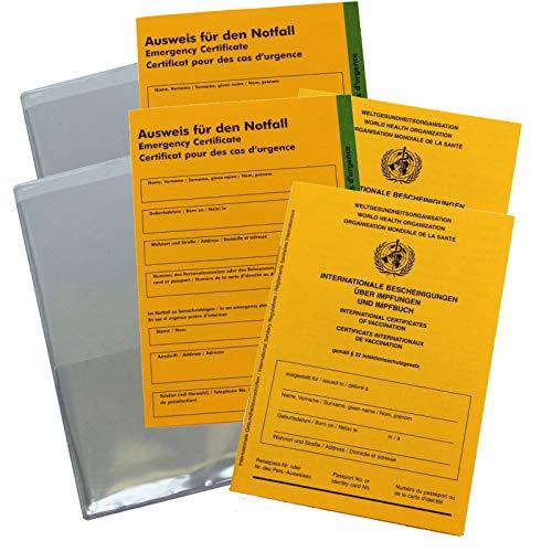 Impfpass, Schutzhülle und Notfallausweis im Set - Internationale Bescheinigungen über Impfungen und Impfbuch… (2X 3er Set)