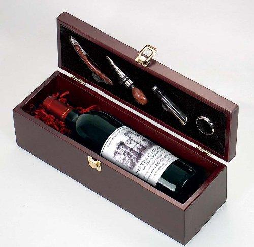 Rotwein Chateau Migraine in Holzschatulle mit Weinbesteck
