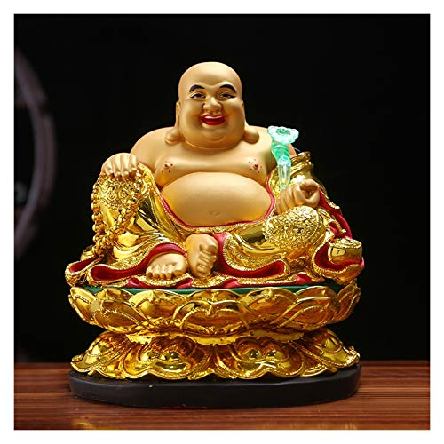 SHIJIE1701AA Afortunado Estatua Holding Ruyi Buddha Beads Big Belly Buda Estatua Inicio Lucky Decoration Lifelike riendo Buddha Mejor Regalo para la Apertura de Negocios (Dorado) Decoración Feng Shui