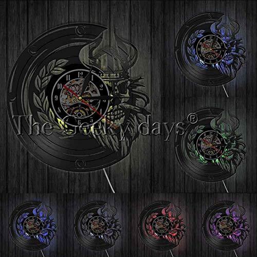ZZLLL Reloj de Pared con diseño de Calavera vikinga, Casco de Calavera, Cuerno, Guerrero de Vela marítimo Noruego, bárbaro Valhalla, Reloj de Pared con Registro de Vinilo Vintage - con LED