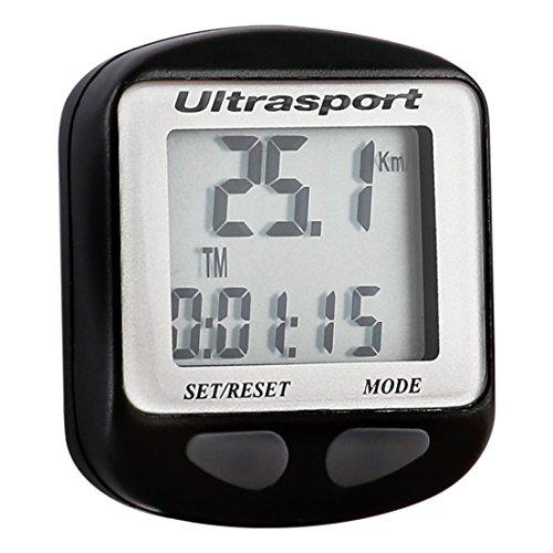 Ultrasport Fahrradcomputer mit Kabel, wasserdicht und einfach zu Montieren/Das Fahrrad Tachometer misst Geschwindigkeit, Distanz, Kalorien, Zeit und Mehr - Lieferung inkl. Montagematerial und Zubehör