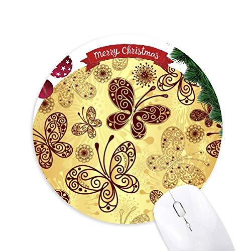 Gelber Schmetterling Wallpaper Rund Gummi Maus Pad Weihnachtsbaum Mat