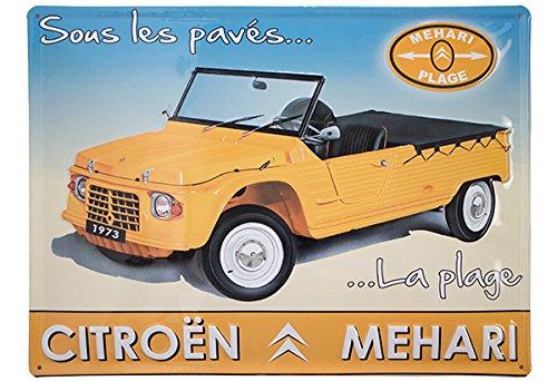 Plaque Metal 40X30cm Citroen MEHARI Jaune sous Les PAVES LA Plage