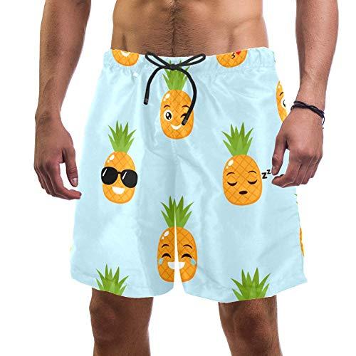 Pantalones cortos de playa de secado rápido para hombre, con diseño de piñas divertidas para dormir, besos, diseño de emoji, bañador elástico con forro de malla Multicolor multicolor S