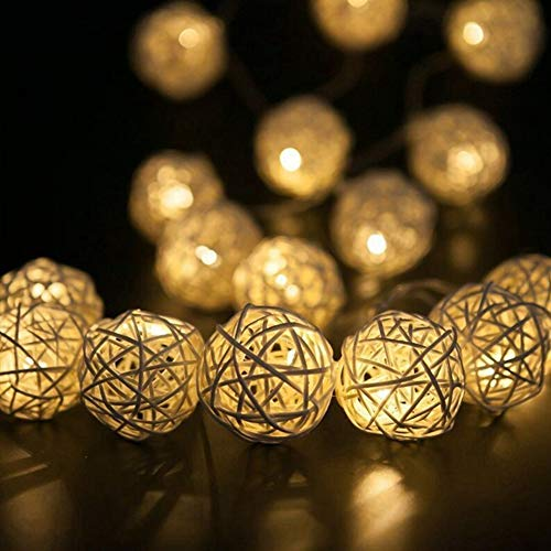 BabyIn 20 Warm White Battery Operated Rattan Wicker Ball LED String Lights, Bedroom Lights,Indoor Mood String Lights for Soft Lighting -W