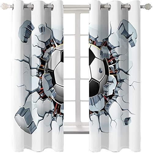 AMDXD 2 Paneles Cortina Salon Poliester, Cortinas de Ventana de Cocina Fútbol Sala Cuarto Dormitorio Comedor Salon Cocina Salón Decoración, Blanco, 274x115CM