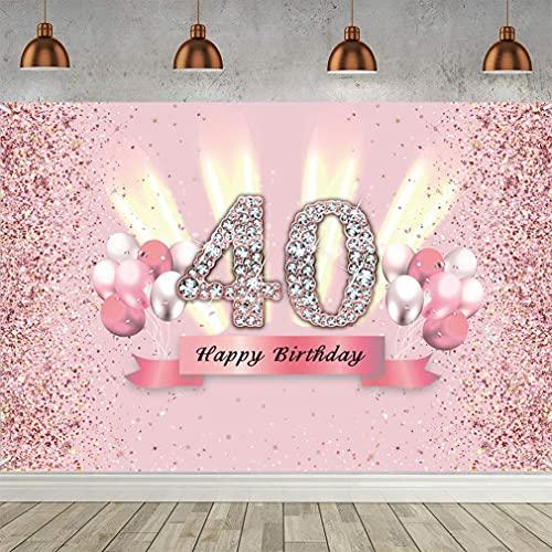 40. Geburtstag Deko Frauen, Stoff Schild Poster zum 40. Jahrestag Banner 40. Geburtstag Party Dekoration Tischschmuck Plakat Geburtstagsdeko Fotoautomat Hintergrund Glitzern Rosa