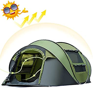 AYAMAYA Camping Tents 3-4 Person/People Easy Up Instant Setup Ventilated [2 Door] [Mesh Window] Waterproof Automatic Pop Up Big Family Privacy Dome Tent Shelter for Backpacking Picnic Fathers Day Gift