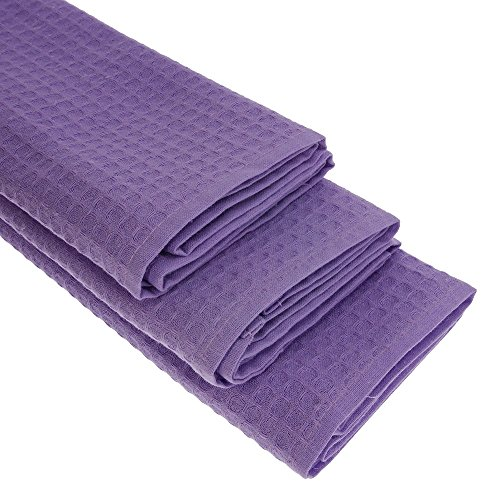 Damilo Lot de 3 torchons Gastro en 100 % coton gaufré piqué dans des torchons de cuisine Violet