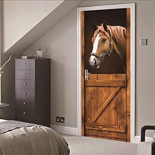 3D Tür Wandaufkleber Pferd Haus Qualität PVC selbstklebende Wasserdichte Abnehmbare Art Decals für Dekoration Wandbild 77x200cm