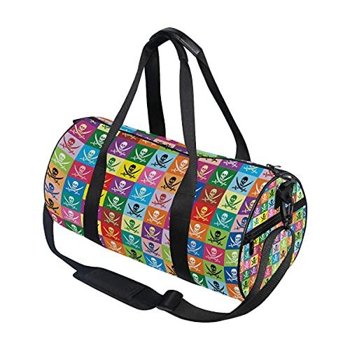 Borsone da palestra, motivo bandiera multicolore Jolly Roger Pirate Swim Sports Travel Gym Bag con scomparto per scarpe e tasca bagnata per donne o uomini