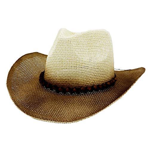 LLYY-Hat-571 MXLLYY Sombrero de Caballero Pintura de espray Occidental Sombrero de Vaquero de Paja Hombres Sombrero de Sol Mujeres Pareja Sombrero de Paja y Sombrero de Playa al...