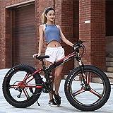 TRGCJGH Mountain Bikes Plegable 26 Pulgadas Fat Tire Mountain Trail Bike Bicicleta De Freno De Disco Doble con Marco De Acero De Alto Carbono Velocidad 21/24/27,B-24speed