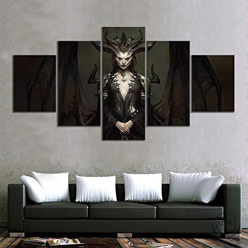 VENDISART,Leinwanddrucke,Modulare Wandkunst Wandaufkleber,5 Teiliges Wandbild,Diablo Iv Lilith Spielplakat,Mit Rahmen,Größe:200×100cm