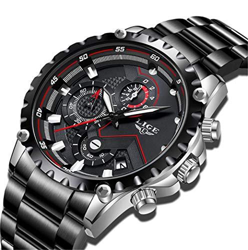 LIGE Herren Sport Wasserdicht Schwarz Uhren Silber Edelstahl Datum Chronograph Männer Big Dial Militär Armbanduhr
