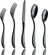 Black Silverware Set, 5-Piece Flatware Set, Onlycooker Stainless Steel Eating Utensils Service for 1, Dinner Knives/Forks/Spoons, Heavy Duty Design Cutlery, Mirror Polished & Dishwasher Safe