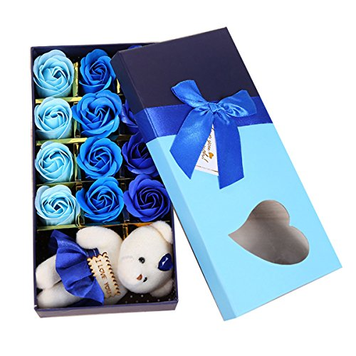 Butterme Pack de 12 Savon à saveur parfumée Romantique avec Je t'aime Petite poupée d'ours dans la boîte pour Les Cadeaux de Saint-Valentin Cadeaux de Mariage Cadeaux d'anniversaire