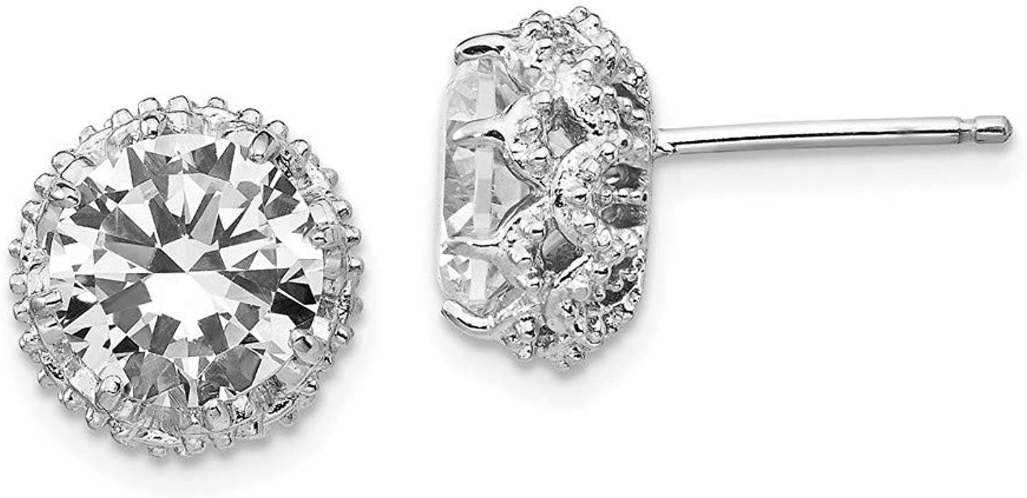 Beautiful Sterling silver 925 sterling Cheryl M Sterling Silver Rhodium Plated Round CZ Post Earrings