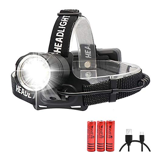 Brightest Headlamp 8000 Lumen CREE XHP70 LED Super Bright Headlamp Rechargeable High Power Zoomable Waterproof 3 Modes Batteries Included,Support Power Output,Best for Outdoor Camping Fishing