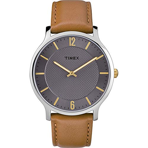 Timex Herren Analog Quarz Uhr mit Leder Armband TW2R49700JT