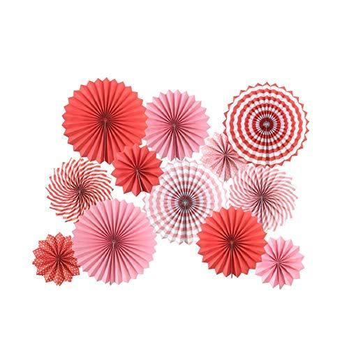 SD SPARKLING DREAM Papierfächer Rosa Deko Rot Papier Blumen Dekoration für Geburtstag Hochzeit Abschlussfeier Events Zubehör Set von 12 rot