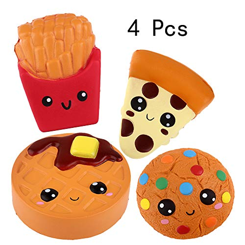 Anboor Squishies 4Pcs Frites, Gâteau, Biscuit, Pizza Slow Rising Super Doux Parfumé Kawaii Squeeze Squishy Food Pack Jouets Stress Relief Gift Collection
