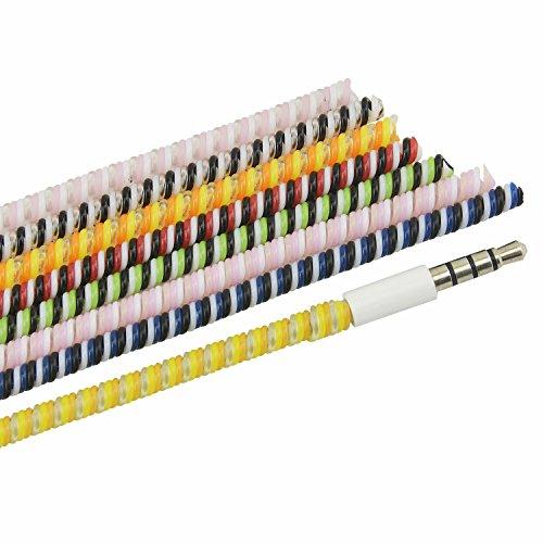 Larcenciel Wire Protektoren/ Kabel Sleeves für Ladegerät, Kopfhörer, Datenkabel, 120 cm Bunte universelle Spirale Zugentlastung Schnur Saver(7 Stück)