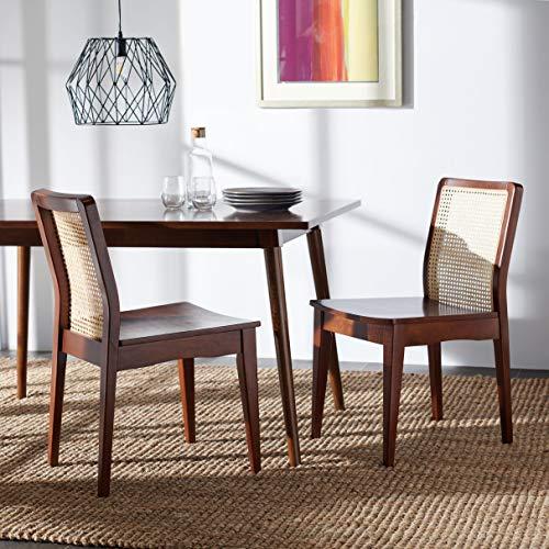 Safavieh Home Collection Benicio Dark Brown/Natural Rattan Dining Chair (Set of 2) DCH1005A-SET2
