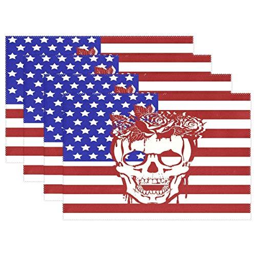 Mantel individual de calavera con bandera americana, mantel individual para decoración de escritorio, juego de 6 antideslizantes resistentes al calor, 12x18 pulgadas