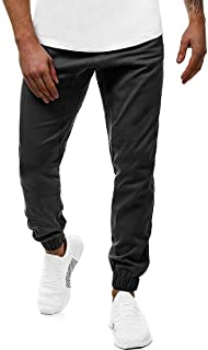 OTW Men Solid Plus Size Casual Running Elastic Waist Jogger Pants Sweatpants