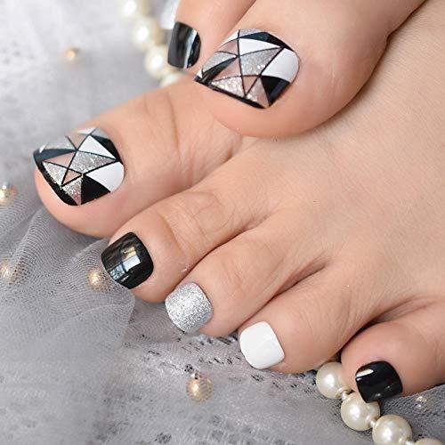 TJJF Motifs géométriques Glitter Toe Nails Glitter Black Square Fake Nail Shiny Sparkling Press On Nail