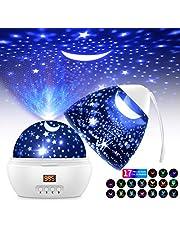 Lampara Proyector Estrellas Infantil, 360°Rotación LED Pantalla Lámpara con 17 Modos Color 5-995 Minutos Temporizador Automático Lampara Niños Dormir, para Navidad, Halloween, Cumpleaños