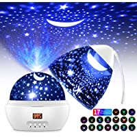 Proyector Estrellas Bebé 360°Rotación LED Lámparas Proyector Infantiles con 17 Modos Color 5-995 Minutos Temporizador de Apagado Automático Luz Estrella Nocturna Infantil para BeBés Niños y Adultos
