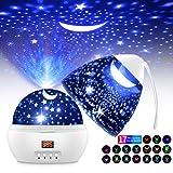 Lampara Proyector Estrellas Infantil, 360°Rotación LED Pantalla Lámpara con 17 Modos Color 5-995 Minutos Temporizador...