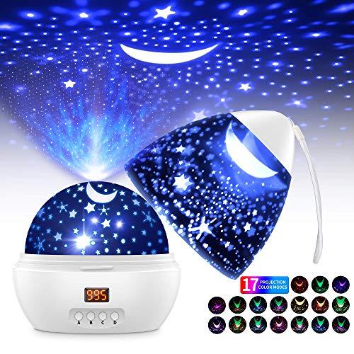 Sternenhimmel Projektor LED Projektor Lampe Kinder 360° Drehen 17 Beleuchtungsmodi und Timer Automatisch Abschlaten Baby Nachtlicht für Zimmer Weihnachten Hochzeit