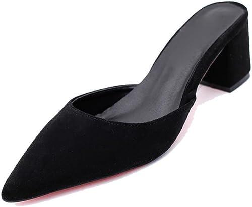 Sandales peu profondes de la la bouche pantoufles cool pantoufles femmes avec demi d'épaisseur avec des sandales femmes Baotou ont souligné pantoufles femmes d'été femme , noir , US6   EU36   UK4   CN36  livraison gratuite!