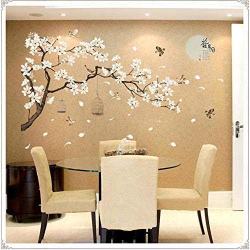 ZDTDX Sticker mural Sakura Stickers Muraux Decal Chambre Salon Bricolage Fleur Amovible Pvc Art Papier Peint Belle Décoration De La Maison Stickers Autocollants