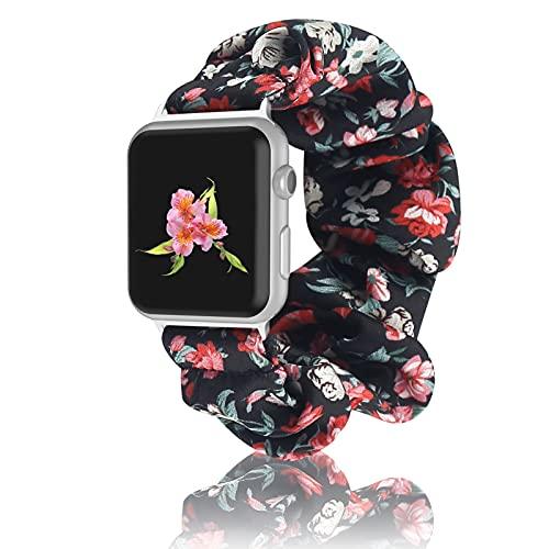 Compatibile con Apple Watch 38mm 40mm 42mm 44mm,Cinturino Elastico per Orologio con Cinturino Scrunchie Cinturino per Cinturino in Tessuto Stampato da Donna per Apple iWatch Series 6 5 4 3 2 1