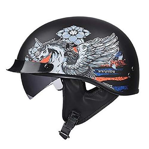 ZLYJ Medio Casco De Motocicleta Retro, Medio Casco De Motocicleta De Verano Unisex Scooter Harley, Estándar ECE, Gorra De Cerebro con Gafas Integradas, Patrón De Pesca E,XL