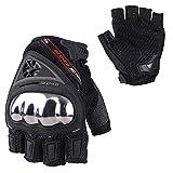 SCOYCO Motorcycle Protective Wear-Resistant Gloves with Anti-Slip Summer Half Finger ATV Motorbike Gloves for Man (Black,XL)