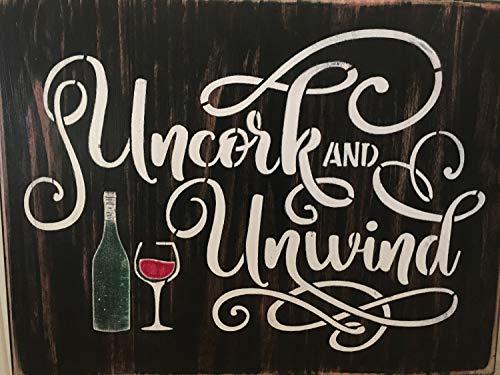 Ced454sy Uncork & Unwine, Weinschilder, BBQ, Terrassendekoration, Außenschilder, Bardeko, Kneipe, Hausschilder, Geburtstag, Hofschilder